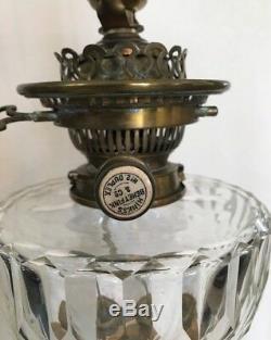 Antique 1800's HINKS Brass Victorian Corinthian Column Banquet Oil Lamp 36 RARE