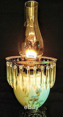 Antique 1877 Victorian 26 prism Oil/Kerosene Lamp, Corn Flower pattern, working