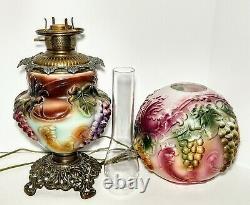 Antique 1880-90's Embossed Grape Vine Converted Kerosene Oil GWTW Parlor Lamp
