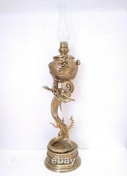 Antique 1880 Gwtw Huge Chinese Gilt Bronze Dragon Figural Victorian Oil Lamp Wow