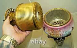 Antique 1880s 90s ROYAL Hand Painted Victorian Hurricane GWTW Oil Lamp