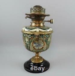 Antique 1881 Doulton Lambeth Edith Lupton Oil Lamp Hinks Williams Bach Burner