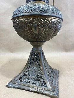 Antique 1889 B&H Bradley Hubbard Table Oil Kerosine Lamp Cast Brass Ornate 12 T