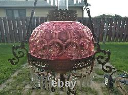 Antique 1890 Hanging Victorian Oil Lamp Chandelier RARE SHADE Estate Sale Find