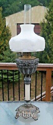 Antique 1890s Victorian Figural Pewter Banquet Oil Lamp Ornate Base 34