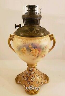 Antique 1894 Bradley & Hubbard B&H Victorian GWTH Oil Lamp Doulton Burslem Base