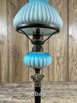 Antique 19th Century Blue Glass Corinthian Column Based Oil Lamp