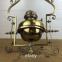 Antique 19th Century Brass Hanging Lamp Ornate Church Oil Lamp 27