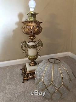Antique 19th Century Victorian Banquet Lamp Oil, Electrified