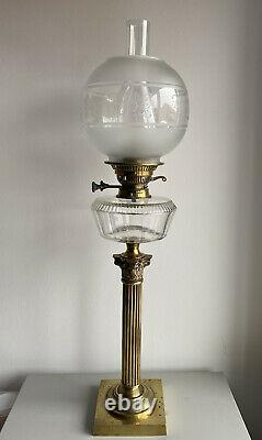 Antique 19th Century Victorian Evered & Co Brass Corinthian Column Oil Lamp