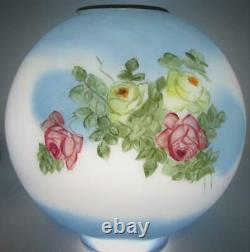 Antique 9 7/8 Opal Glass Globe Ball GWTW Banquet Lamp Shade Roses with Blues 4
