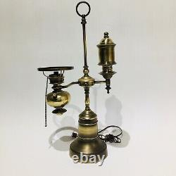 Antique Argand Student Study Oil Lamp / Electric 22.5 Tall Cast Bottom VTG READ