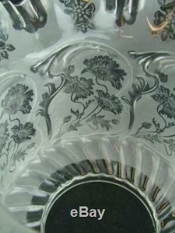 Antique Art Nouveau Acid Etched & Moulded Glass Tulip Oil Lamp Shade, 4 Fitter