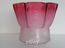Antique Art Nouveau Cranberry acid etched Glass Oil Lamp Shade