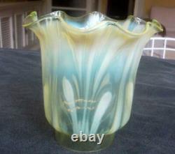 Antique Art Nouveau Vaseline Glass Tulip Oil Lamp Shade