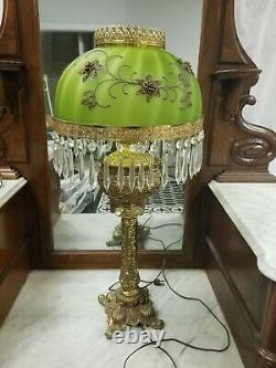 Antique B&H Bradley & Hubbard Oil Electrified Parlor Lamp With Green Shade