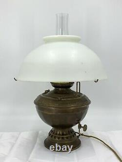 Antique B&H Brass Victorian Oil Lamp Converted To Electric 1898 Still Works