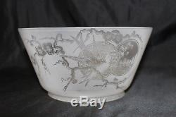Antique Bamboo Swallow Cherry Blossom Etched Glass Gas Oil Shade #1 Fitter 4.75