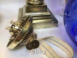 Antique Banquet Oil Lamp Cobalt Blue Glass Font And Shade 34 Tall