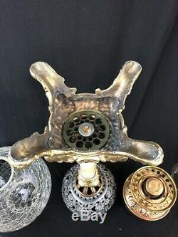 Antique Banquet Oil Lamp with a clear ball GONE WITH THE WIND LAMP