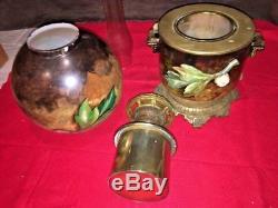 Antique Banquet Victorian Oil Kerosene Hand Painted Floral Lamp