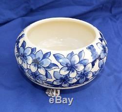 Antique Blue & White Royal Doulton Ceramic Oil Lamp. Single Hinks Patent Burner