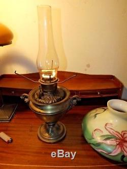 Antique Bradley & Hubbard B&H Heavy Tankard Oil Lamp with Tam O'Shanter Shade WOW