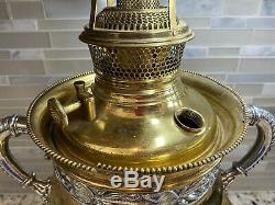 Antique Bradley & Hubbard B&H Large Cast Iron Oil Kerosene Lamp