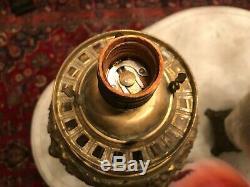 Antique Bradley Hubbard B&H Victorian Banquet Alabaster Cherub Kerosene Oil Lamp