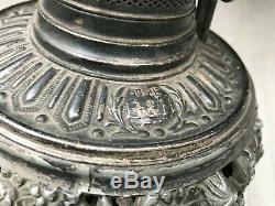 Antique Bradley Hubbard B&H Victorian Banquet Kerosene Oil Lamp Lady Face Shade