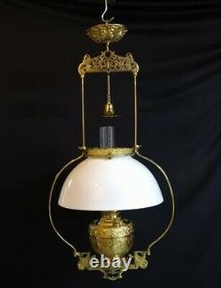 Antique Bradley Hubbard Hanging Library Pendant Oil Lamp B&H