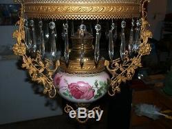 Antique Brass B & H Bradley & Hubbard Hanging Oil Lamp