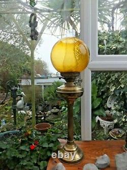 Antique Brass Banqueting Oil Lamp Amber Globe Dual Burners Downton Abbey Style