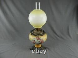 Antique Brass GWTW Hand Painted Cherubs Oil Lamp Yellow Red P. A. Royal Burner