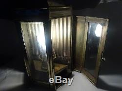 Antique Brass & Glass Ship Oil Lamp Converted To Electric Victorian Oil Lamp