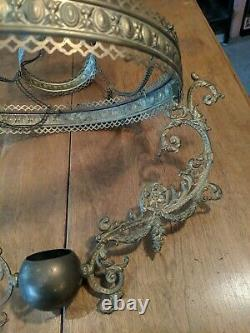 Antique Brass Hanging Bracket Oil Chandelier Parlor Lamp Parts with 14 Fitter