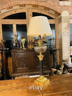 Antique Brass Oil Lamp With Cut Glass Bowl, Table Lamp, Duplex, Youngs