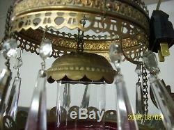 Antique Brass and Hob nail cranberry glass oil lamp- converted to electric