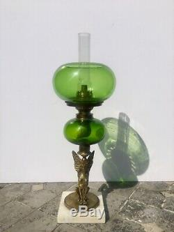 Antique Brass egyptian Sphinx goddess Griffon Greek green glass oil lamp