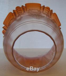 Antique Cameo Cut Peach To Amber Duplex Tulip Oil Lamp Shade