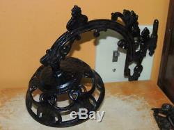 Antique Cast Iron Glass 17.5 Kerosene Oil Lamp wall bracket sconce pivot c1890