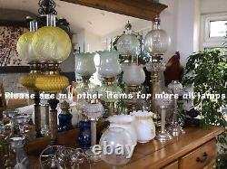 Antique Ceramic And Brass Oil Lamp Moulded Glass Shade Duplex Burner