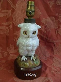 Antique China German Pottery Ernst Bohne & Sohne Victorian Owl Oil Lamp