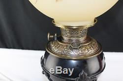 Antique Circa 1880 Bradley and Hubbard B&H Oil Lamp Wrought Iron Base GWTW Shade