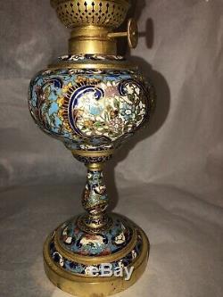 Antique Cloisonné Oil Lamp