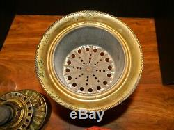 Antique Consolidated Clear Satin Glass & Brass Oil Table Lamp Grapes Shade VG