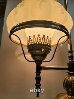 Antique Converted Brass Student Oil Lamp