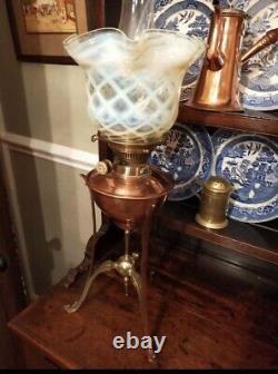 Antique Copper Brass Copper Oil Lamp W A S Benson Vaseline Shade