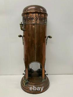 Antique Copper Verity Brothers Paraffin Heater Lamp Victorian Twin Burners