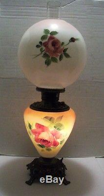 Antique, Cottage Roses Parlor Gwtw Electrified Oil Lamp, Table Lamp, Base Lites